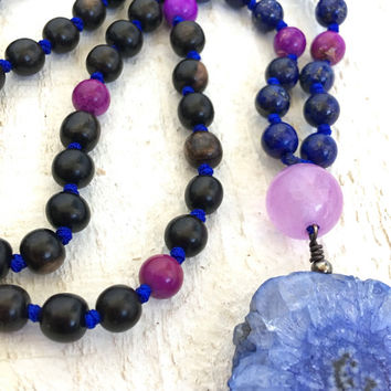 Blue Solar Quartz Mala Beads, Lapis Lazuli Mala Necklace, Knotted 108 Bead Mala, Yoga Mala Beads, Japa Mala Neklace, Bohemian Necklace