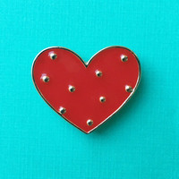 "Valentine's Day ""Polka Heart"" Red and Gold Polka Dot Heart Enamel Pin"