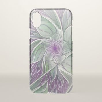 Flower Dream, Abstract Purple Green Fractal Art iPhone X Case