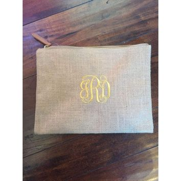 Burlap Monogrammed Makeup Bag