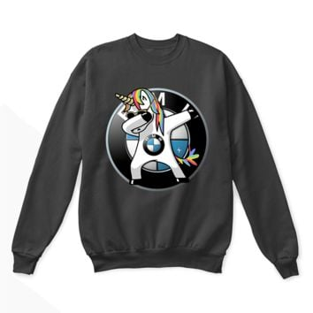 PEAPV4S Car - I Flippin' Love BMW Dabbing Hip Hop Unicorn Crewneck Sweatshirt