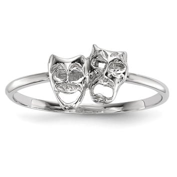 14k White Gold Polished Tragedy and Comedy Mask Ring