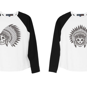 Kid Skull wear indian headdress Print Cotton Long Sleeves Raglan T-shirt  UTS_01