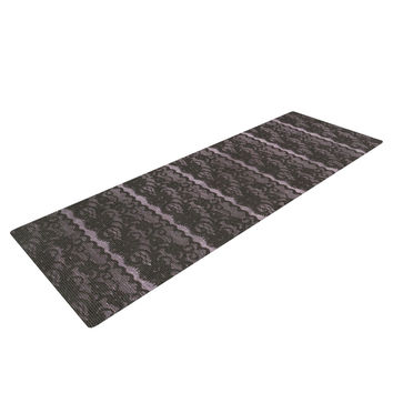 "Heidi Jennings ""Black Lace"" Gray Yoga Mat"