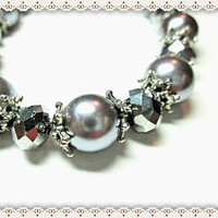 Gray Pearl Bracelet~Pearl Beaded Bracelet~Glass Pearl And Smokey Facet Glass Beaded Bracelet~Silver Flower Caps~Toggle  Closure