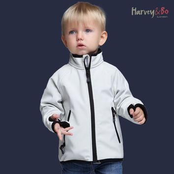 Harvey&Bo kids jackets softshell coat waterproof baby boys girls outerwear spring autumn children outdoor jacket plus velvet