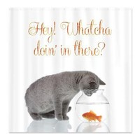 Funny Cat and Fishbowl Shower Curtain> Decorator Shower Curtains> MORE PRODUCTS-CLICK HERE-GetYerGoat.com