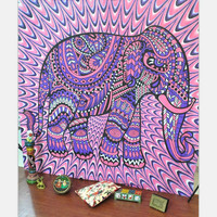 Purple Lucky Elephant Wall Hanging Tapestry Boho Home Decor