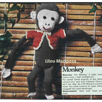 Crochet TOY Pattern Vintage 70s Crochet MONKEY Toy Pattern Stuffed Animal Crochet Baby Toy Crochet Sock Monkey Pattern Instant Download