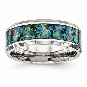 Stainless Steel Polished with Blue Imitation Opal 8mm Men's Ring 7 to 13 Size