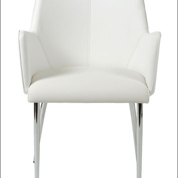 Euro Style Sunny Arm Chair (Set Of 2) - White Leatherette/Chrome