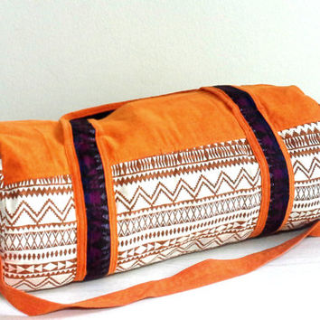 Womens Gym bag, Orange color, Round Duffle bag, Cotton bag, Small size