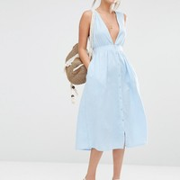 New Look Button Through Pinny Dress at asos.com