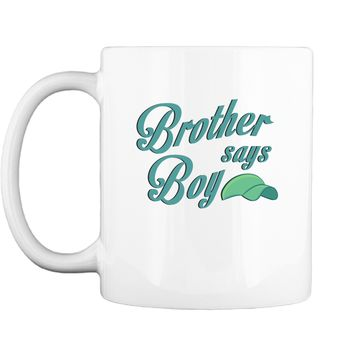 Graphic Brother Say Boy Blue Gender Reaveal Announcement Mug