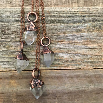 Herkimer Diamond Necklace Raw Crystal Necklace Boho Clear Quartz Pendant Healing Crystals Natural Stone Rough Electroformed Bohemian Gypsy