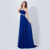 Babyonline Crystal Chiffon Prom Dresses Sheer Cap Sleeve Formal Evening Gown