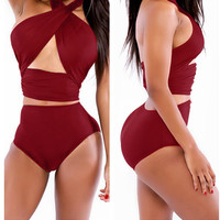 Wine Red Halter Wrap High Waisted Swimsuit