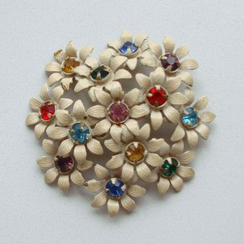 Colorful Rhinestone Flower Brooch Multi-Color Vintage Floral Jewelry