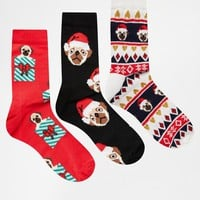 ASOS Pug Socks In Christmas Cracker