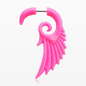 A Pair of Angelic Wing Faux Hanging Taper Earring