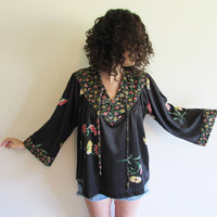 Vintage 60s 70s Black Floral Polyester Oversize Hippie Boho Peasant Shirt with Bell Sleeves