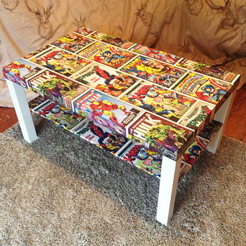 Decoupage Superhero Marvel Style Comic Book Print Coffee Table - Iron Man, Thor, The Hulk, Captain America