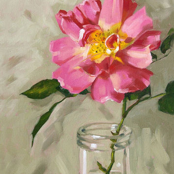 Rose painting floral giclee on canvas with by FinnellFineArt