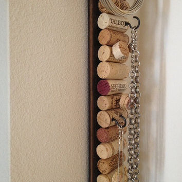 Upcycled wine cork message board jewelry holder on barrel staves from Makers Mark Bourbon