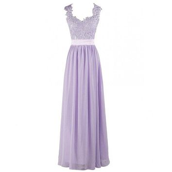 New Arrival Lavender Bridesmaid Dress Sweetheart Appliques Floor Length Elegant Chiffon Brides Maid Dress