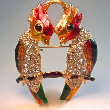Parrot Love Birds Guilloche Enamel Brooch, Rhinestones, Gold Plated, 'C' Clasp Vintage