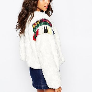 Native Rose Out Of Mongolia Faux Fur Crop Jacket with Embroidered Epaulettes