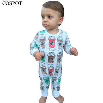 COSPOT Baby Girls Boys Romper Newborn Cotton Coffee Cup Print Jumpsuit Toddler Autumn Rompers Infant Jumper 2017 New Arrival 38C
