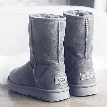 UGG Short boots antiskid warm lazy sheep fur simple ugg boots canister boots 5-color Grey