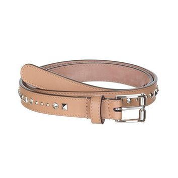 Gucci Women's Beige Studded Leather Silm Belt 380561 Size: 85/34
