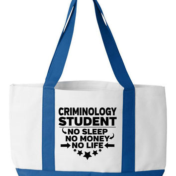 Criminology Student Tote Bag College Majors Bookbag Gift For Criminology Student Criminology Degree Gifts