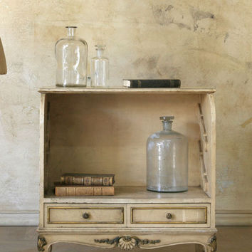 SOLD Antique Shoe Cupboard in Cream with Louis XV Legs - $695 - The Bella Cottage