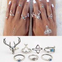 R026 7pcs/lot Vintage Ethnic Bohemian BOHO Ring Deer Anillos De Animales Bague Punk Women Midi Finger Knuckle Jewelry