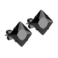 Mister Square Stud Earrings - Onyx