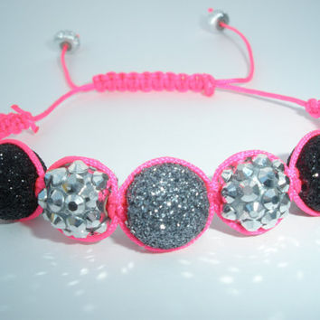 Silver, Black, And Hot Pink Sparkle Bling Beaded Basketball Wives Inspired Hemp Style Macrame Adjustable Bracelet