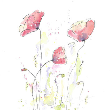 Original Watercolor Poppy Painting Red no 3