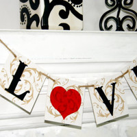 LOVE - Bridal Shower Banner - Wedding Banner -Engagement Party Decoration - Photo Prop