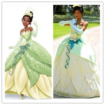 Princess Tiana Frog Dress Cosplay Adult Costume Halloween Costumes For Women Green Clothes Adults Anime Cosplay Clothes