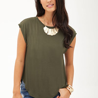 LOVE 21 Tulip-Back Batwing Top Ivory