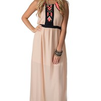 Karlie Women's Peach with Navy and Neon Pink Embroidery Halter Chiffon Maxi Dress