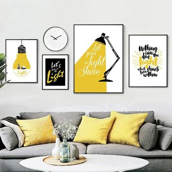 Modern abstract Letter combinations Wall Art Canvas Painting Nordic Posters And Prints Black yellow Nursery Wall Pictures