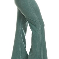 Chatoyant Plus Size Mineral Wash Flare Pants in Emerald