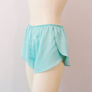 Vintage Tap Pants Ice Aqua Blue Satin Sleep Short Size Small