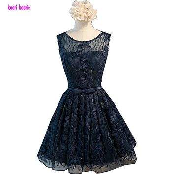Short Prom Dress 2017 Sexy Scoop A-Line Knee-Length Dark Navy Prom Gowns Lace Robe De Cocktail Special Occasion Dress Ball Gown