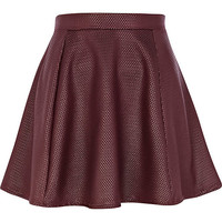 River Island Womens Dark purple textured coated skater skirt