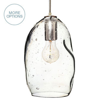 Bubble Seeded Hand Blown Glass Pendant Light